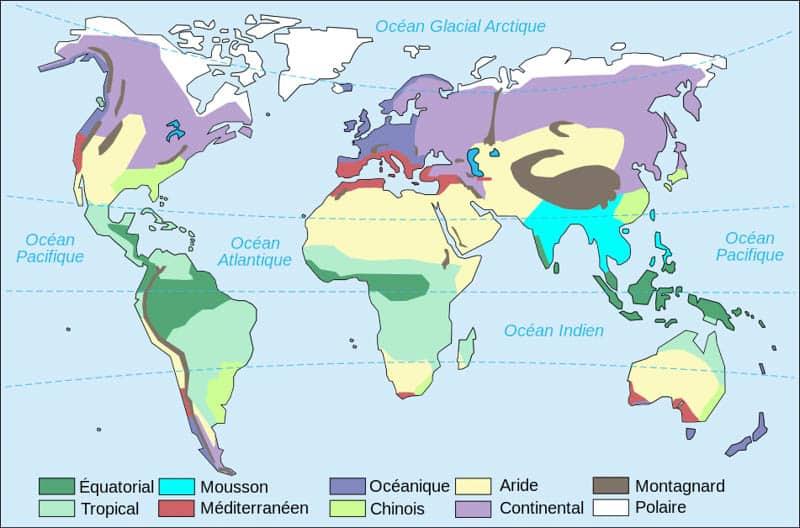 Principaux climats sur terre