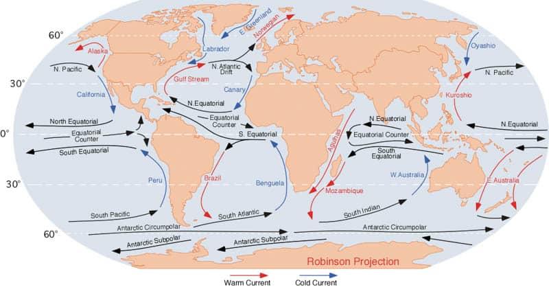 Courants marins de surface dans le monde